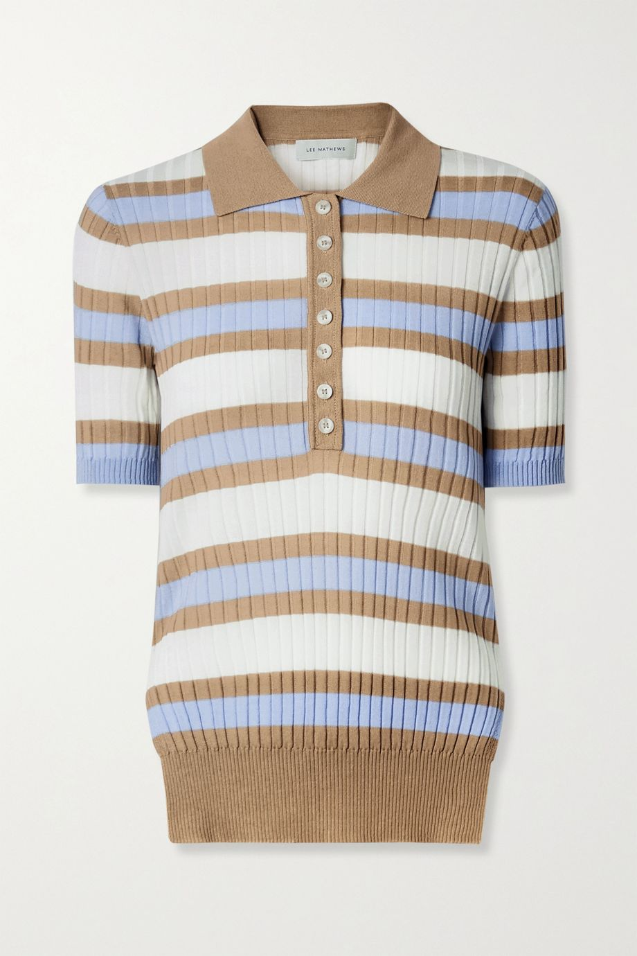 Lee Mathews Striped ribbed Tencel polo shirt