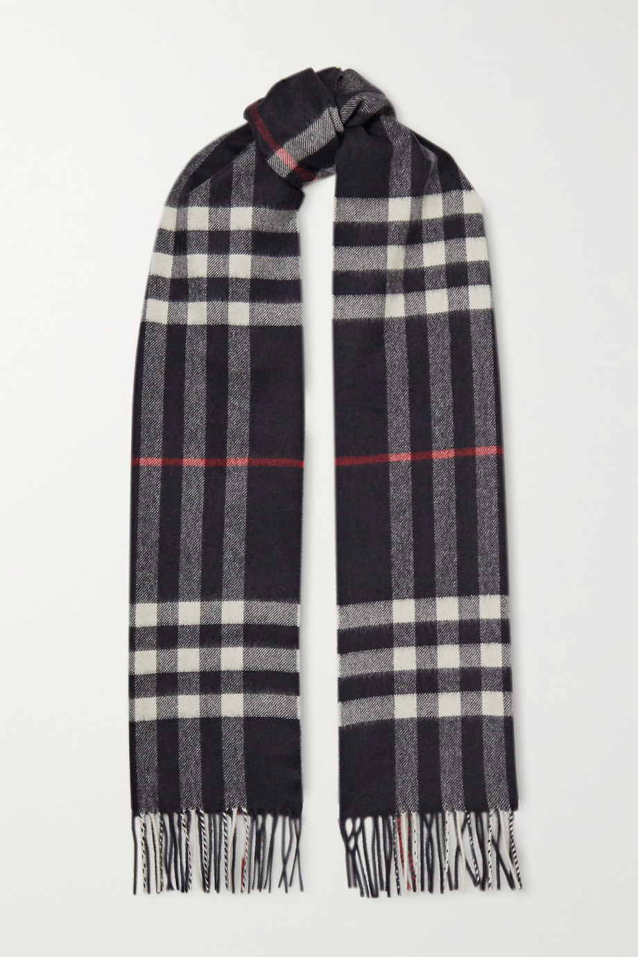 Burberry + NET SUSTAIN fringed checked cashmere scarf