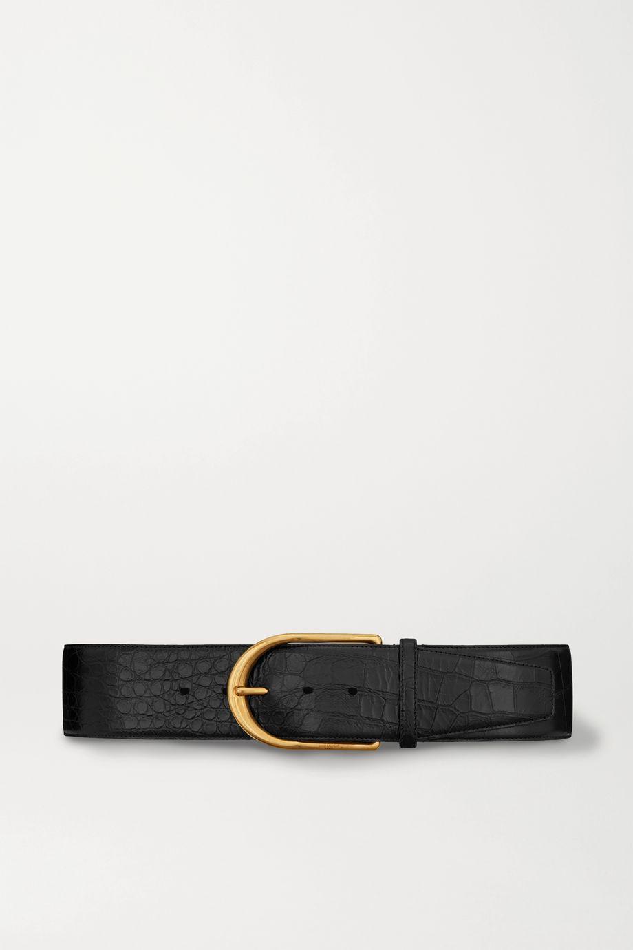 SAINT LAURENT Croc-effect leather belt