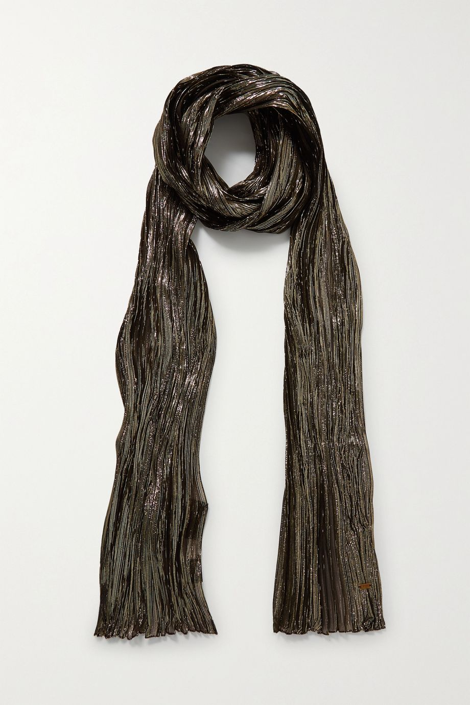 SAINT LAURENT Metallic plissé silk-blend scarf