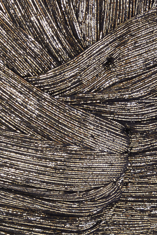SAINT LAURENT Silk-blend lamé turban