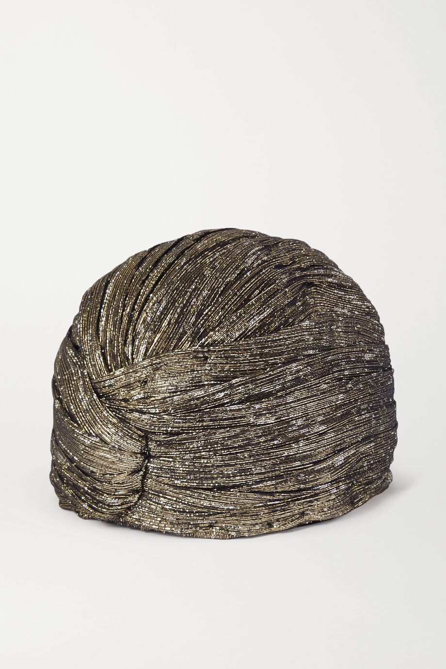 SAINT LAURENT Silk-blend lamé turban