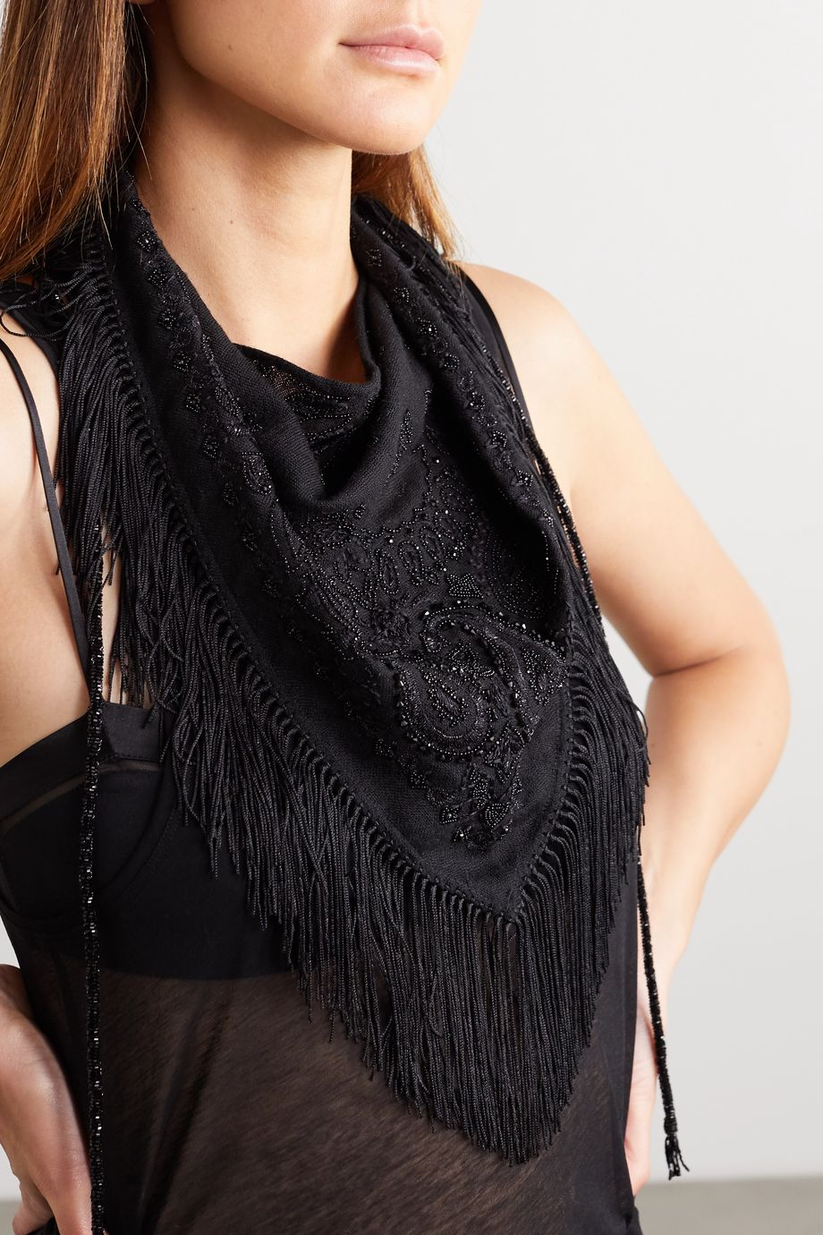 SAINT LAURENT Embellished fringed wool scarf