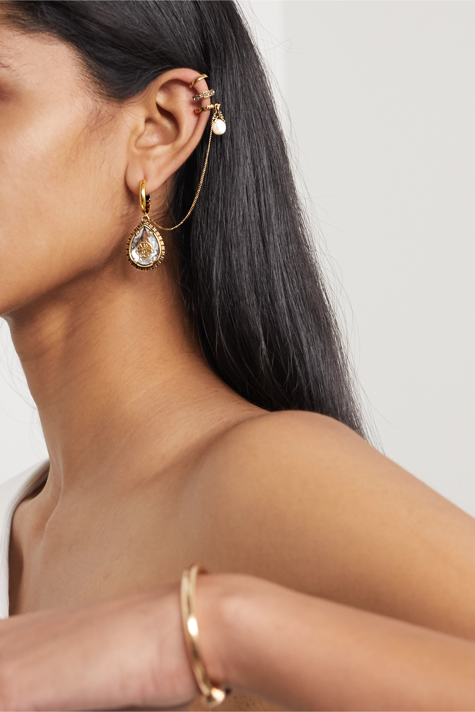 Alexander McQueen Gold-tone, Swarovski crystal and faux pearl ear cuff