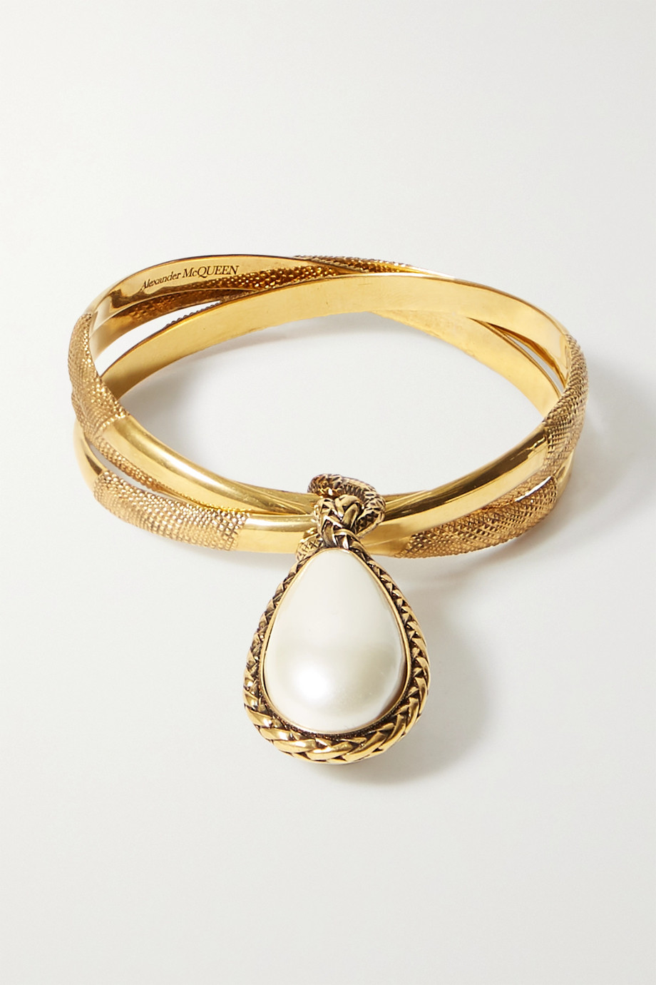 Alexander McQueen Gold-tone faux pearl bangle