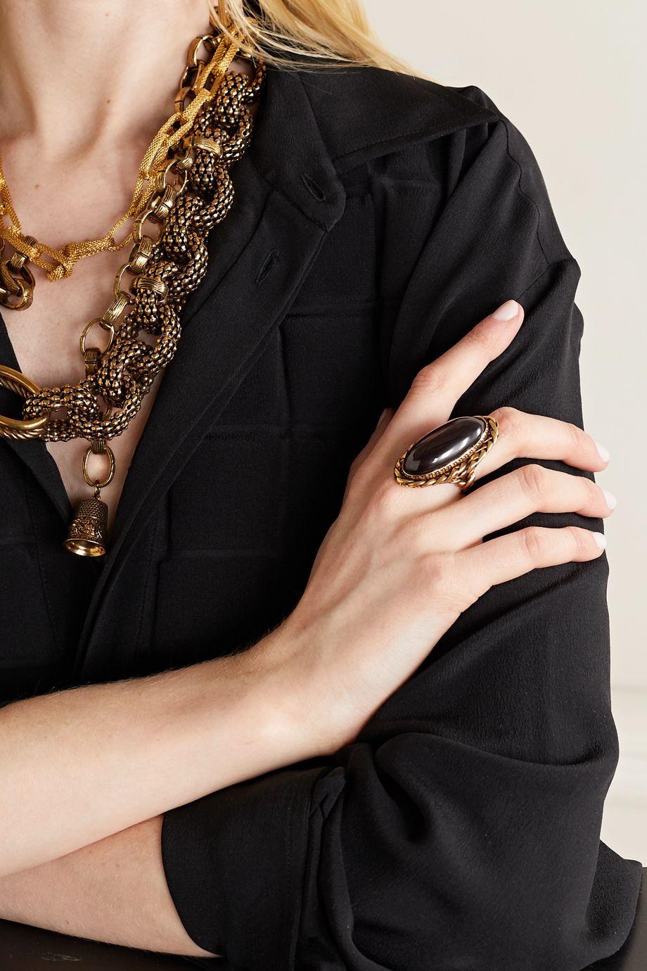 Alexander McQueen Gold-tone garnet ring