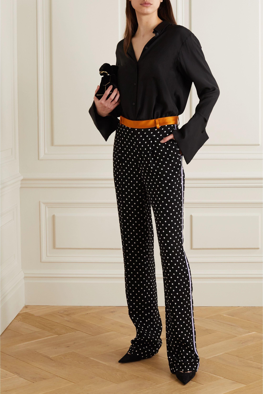 Haider Ackermann Silk-satin and grosgrain-trimmed polka-dot crepe wide-leg pants