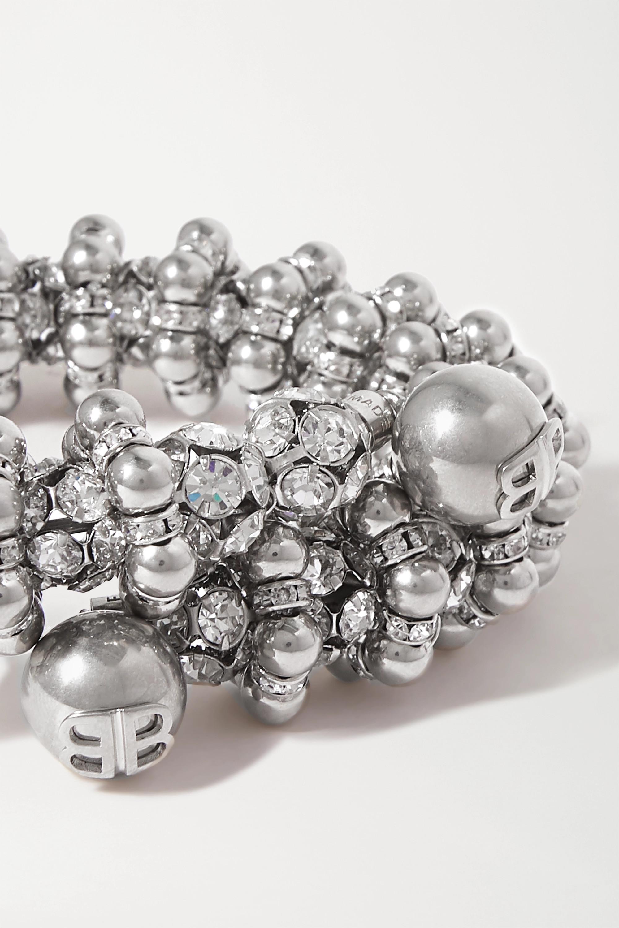 Balenciaga Tour de cou en métal argenté à cristaux