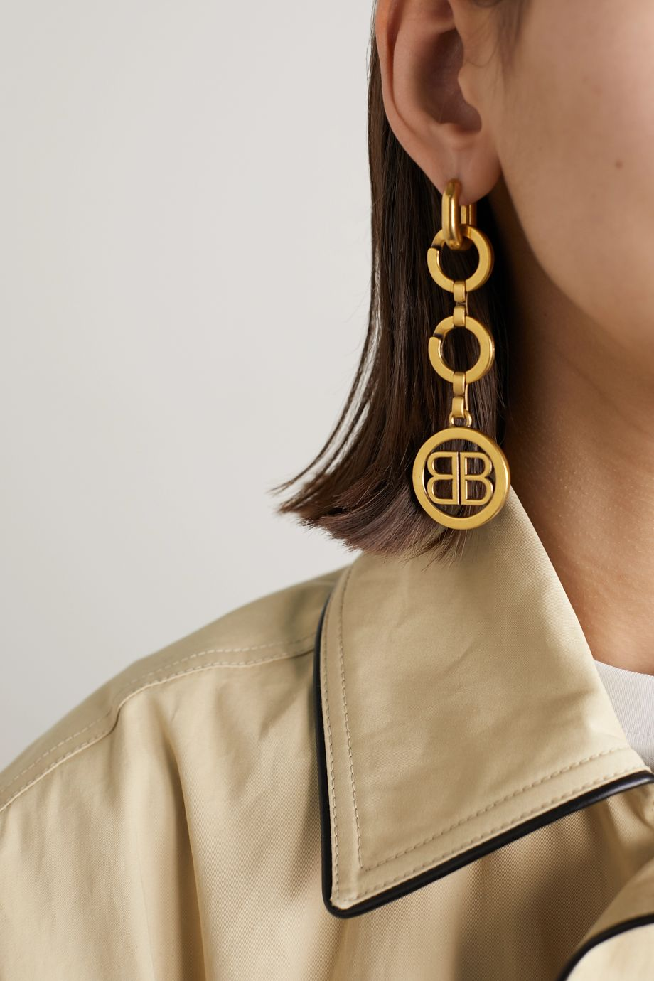 Balenciaga Time gold-tone earrings