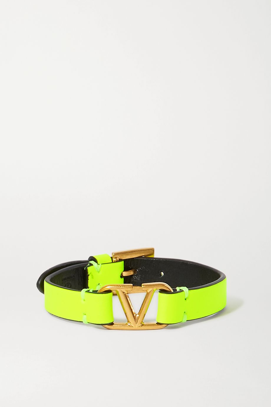 Valentino Valentino Garavani neon leather and gold-tone bracelet