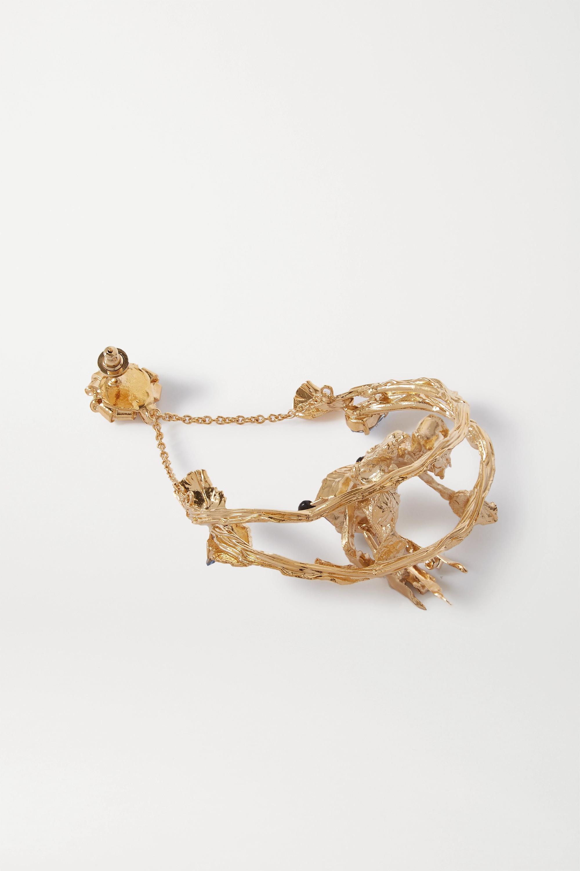 Valentino Boucle d'oreille en métal doré et cristaux Valentino Garavani