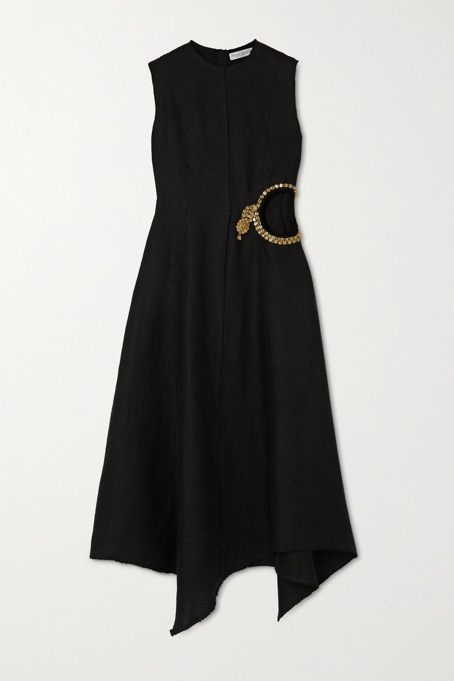 JW Anderson Crystal-embellished cutout linen midi dress