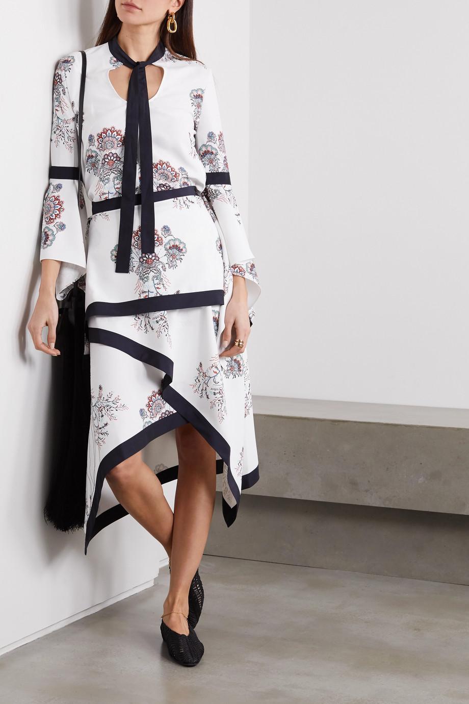 JW Anderson Layered paisley-print crepe skirt