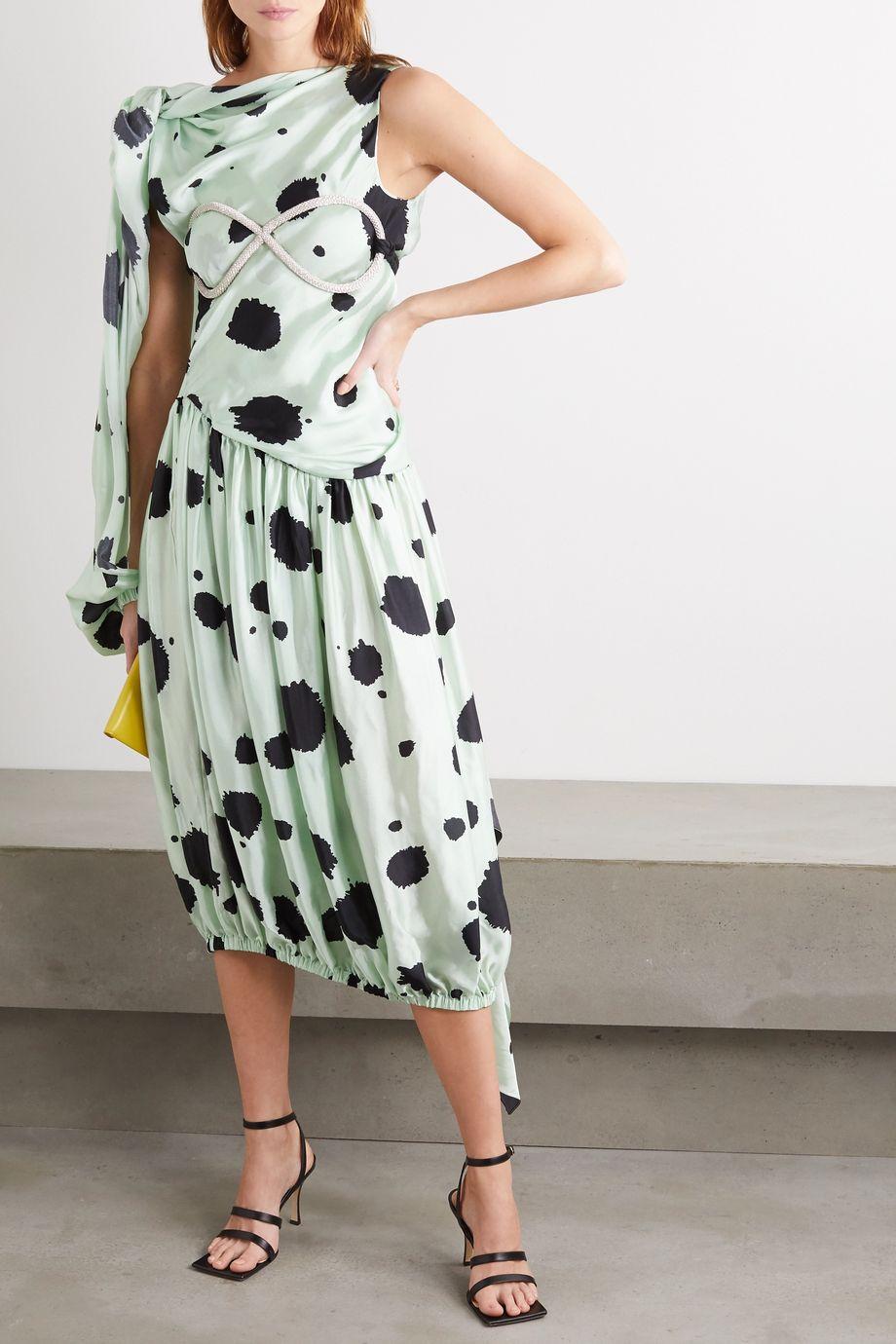 JW Anderson One-sleeve draped polka-dot satin-twill midi dress