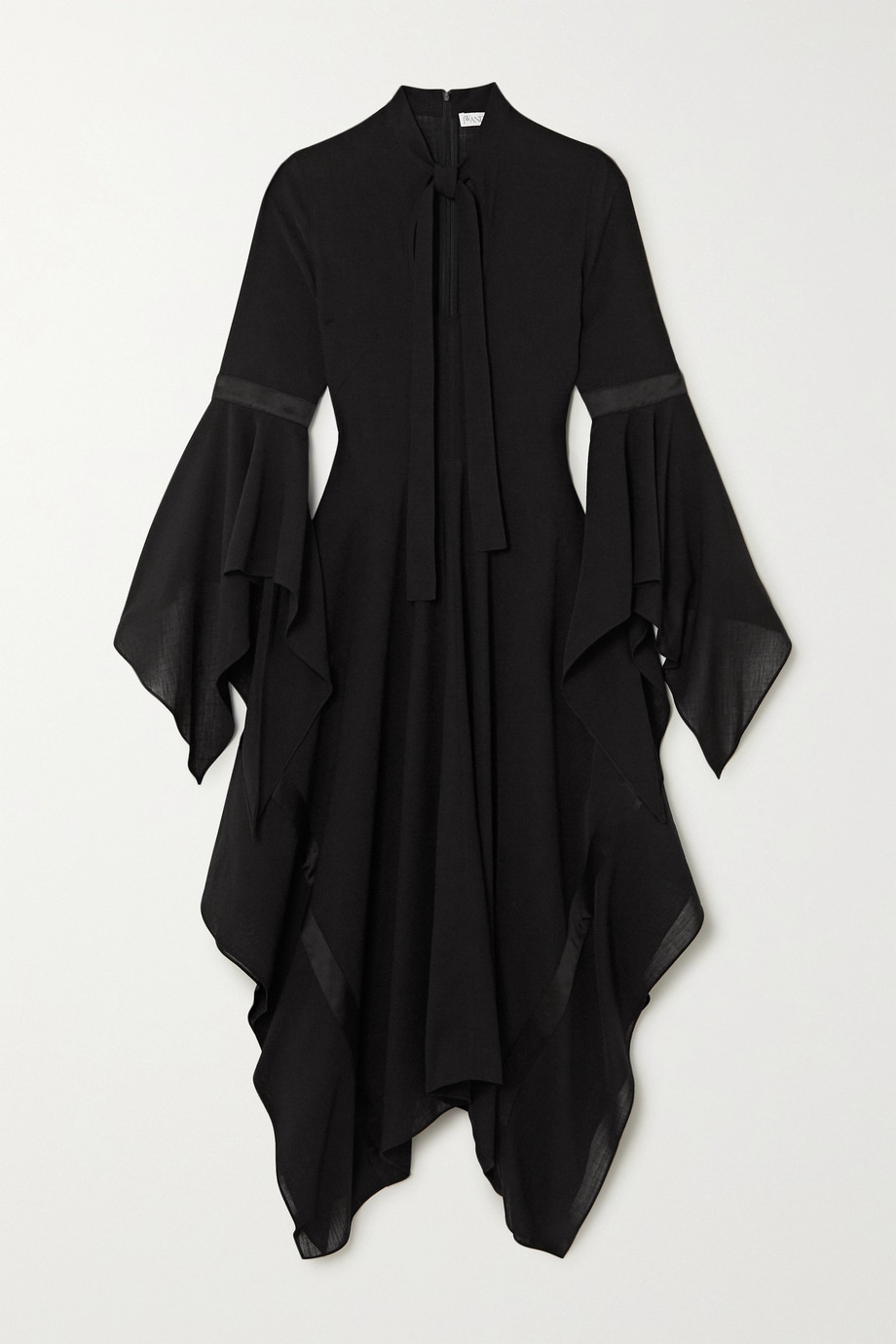 JW Anderson Tie-neck satin-trimmed gauze maxi dress