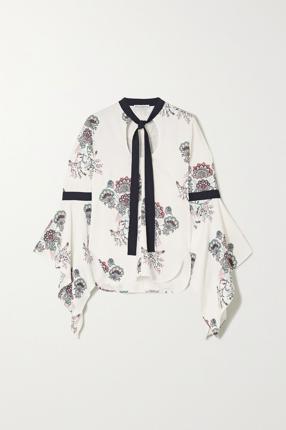 JW Anderson Pussy-bow paisley-print crepe blouse