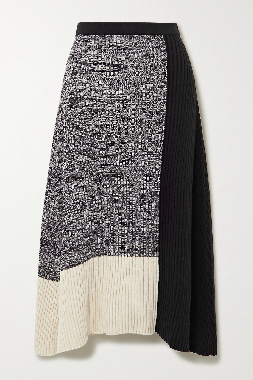 REJINA PYO Asymmetric color-block ribbed cotton-blend skirt