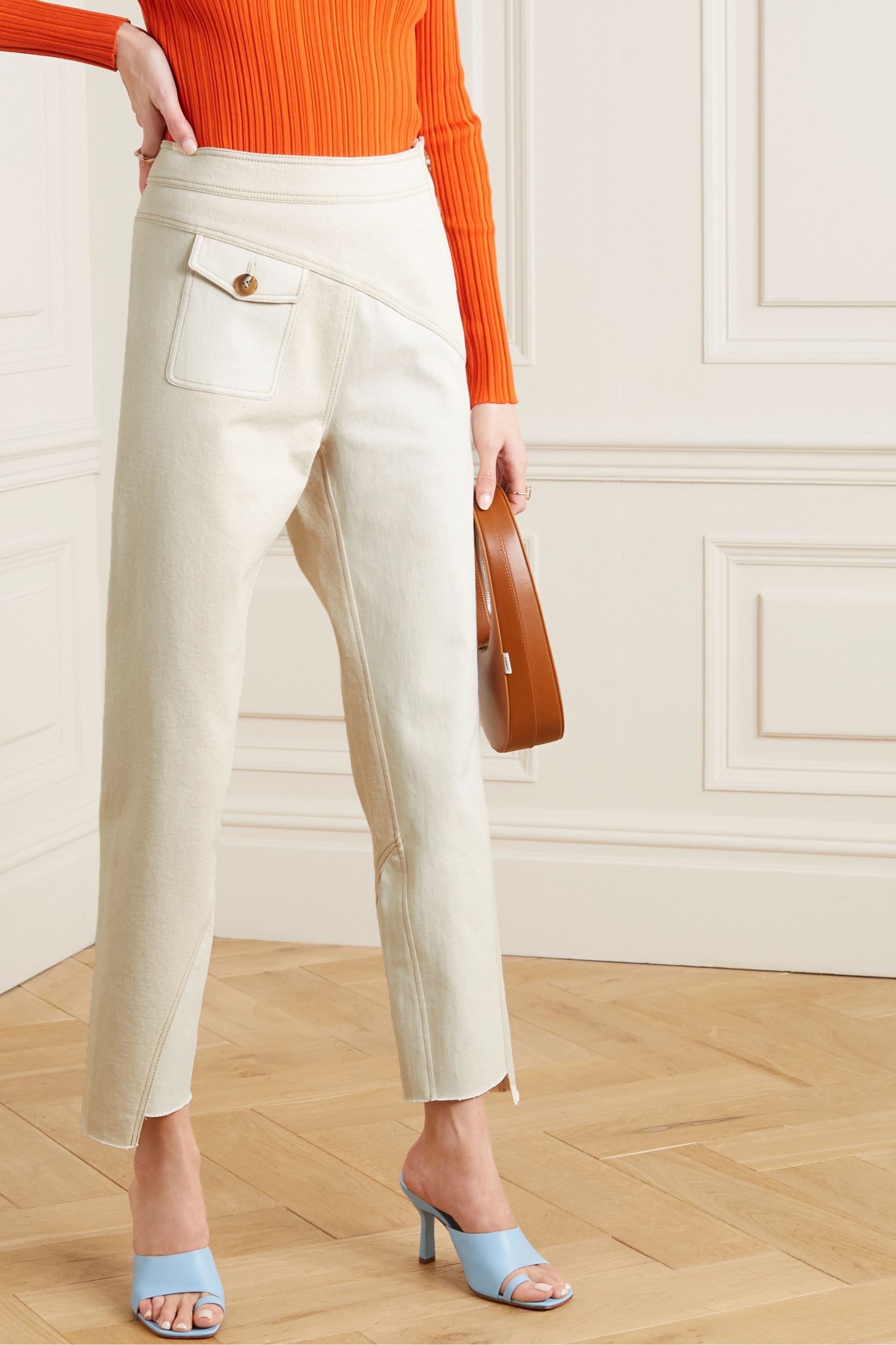 REJINA PYO Lucie two-tone paneled denim tapered pants
