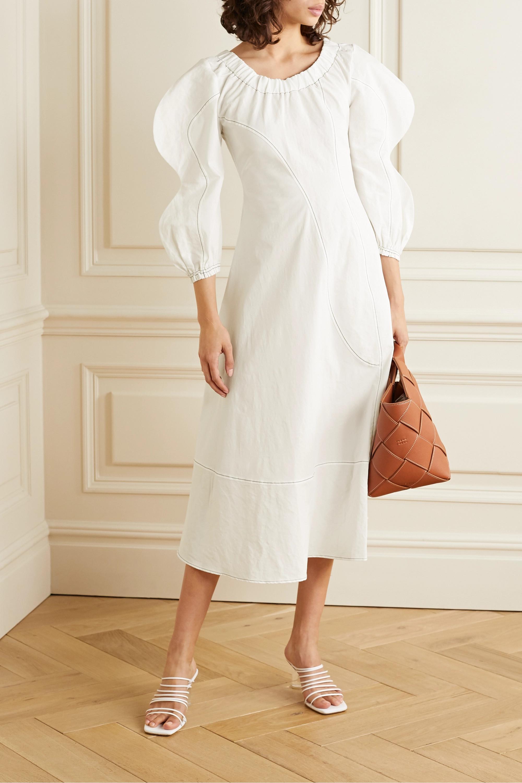 REJINA PYO Aida off-the-shoulder paneled cotton-blend poplin midi dress