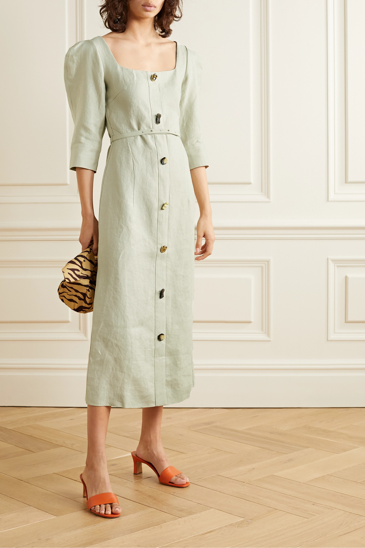REJINA PYO Leonie button-embellished linen midi dress