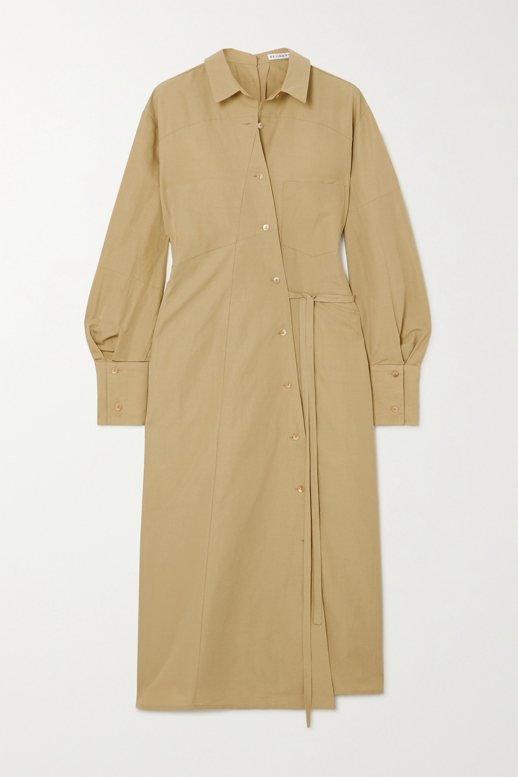 REJINA PYO Maddie convertible cotton and linen-blend maxi shirt dress