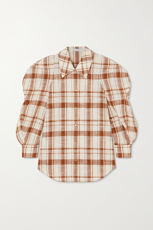 REJINA PYO Julia oversized checked cotton and linen-blend shirt