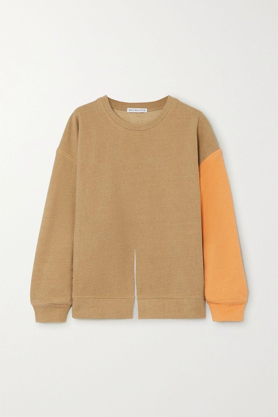 REJINA PYO Charlie two-tone cotton-jersey sweatshirt