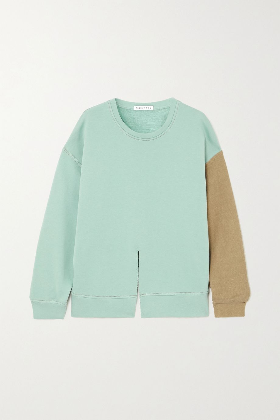 REJINA PYO Charlie two-tone cotton-jersey sweatshirt