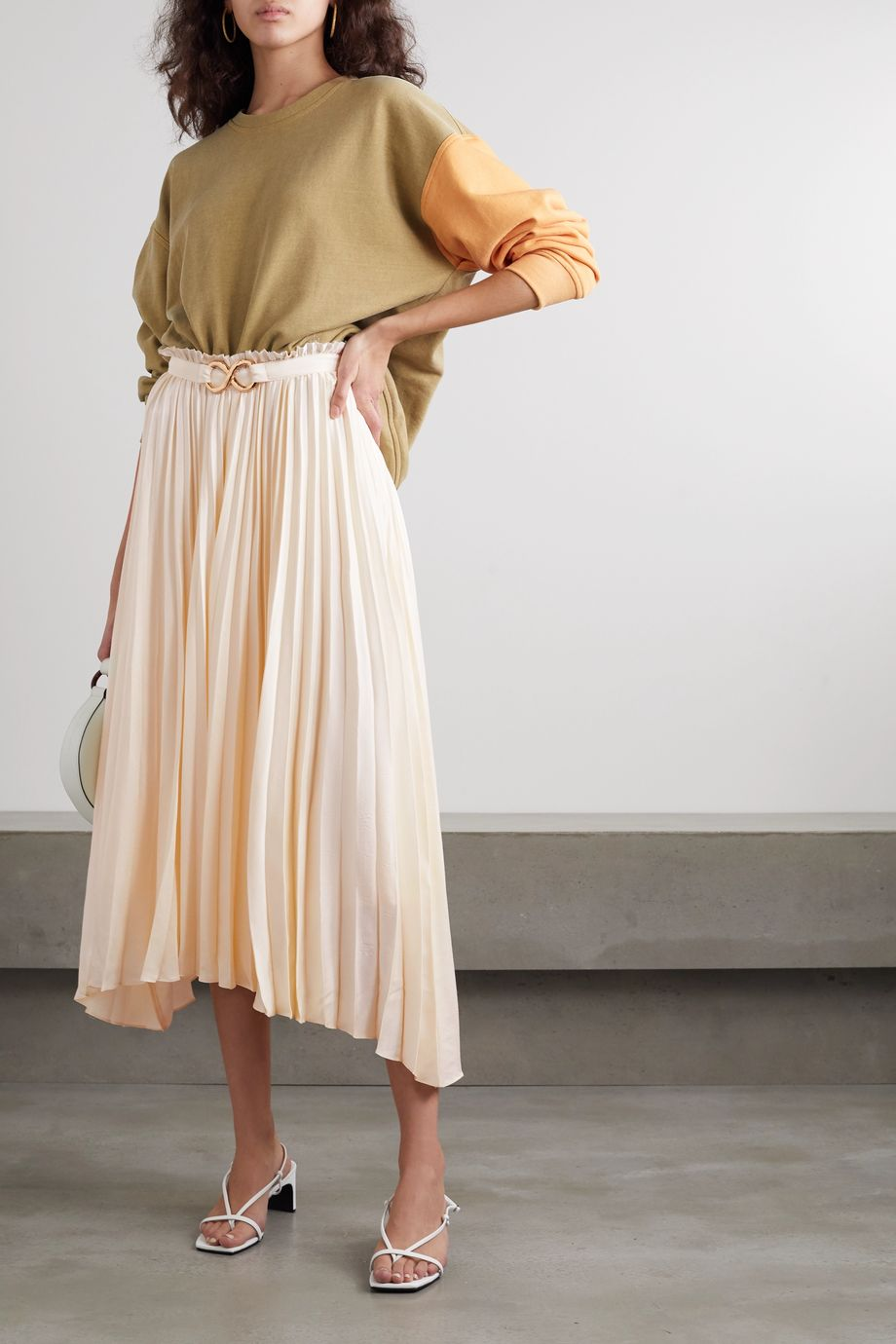 REJINA PYO Kiera belted pleated satin midi skirt