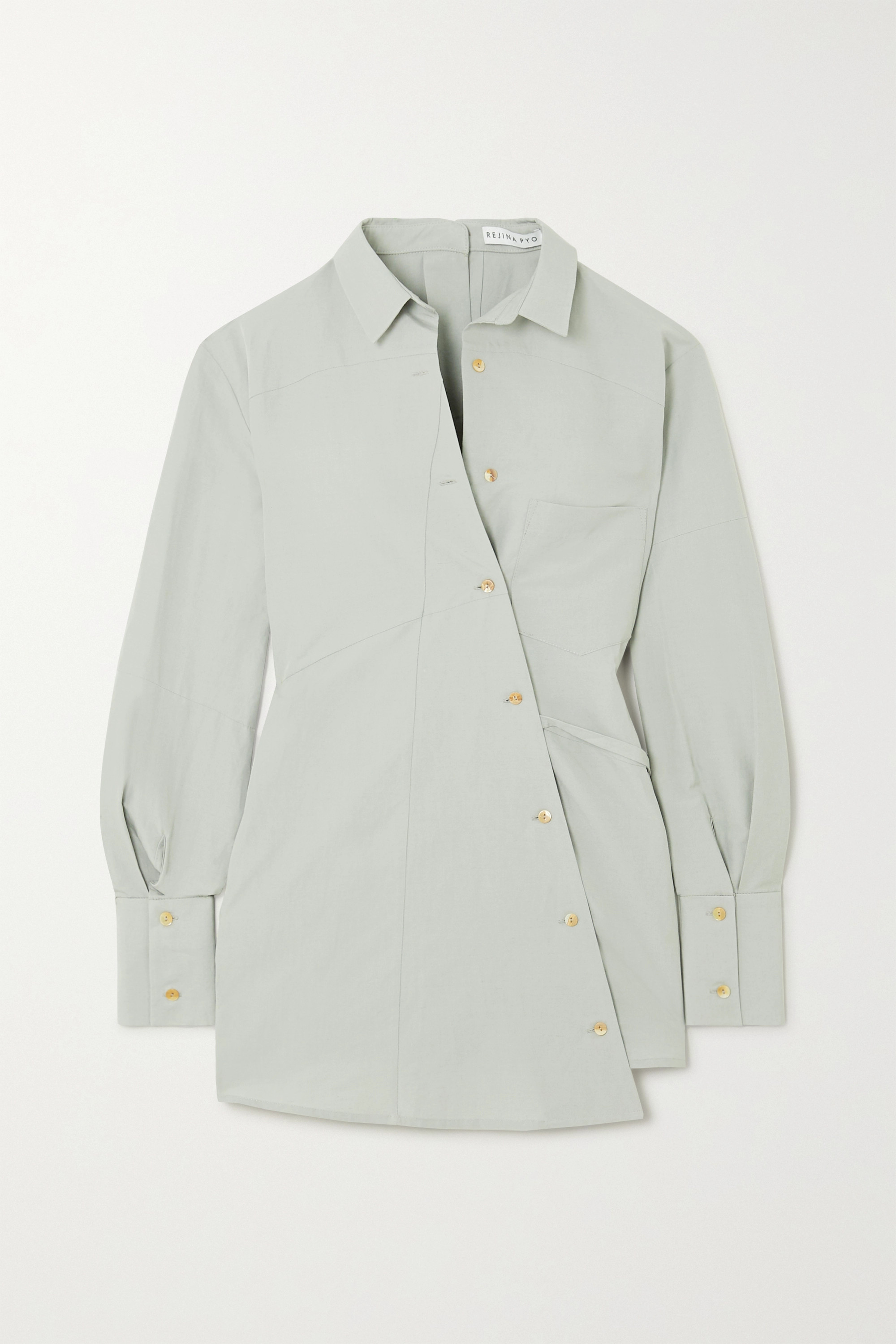 REJINA PYO Tatiana asymmetric tie-detailed cotton and linen-blend shirt