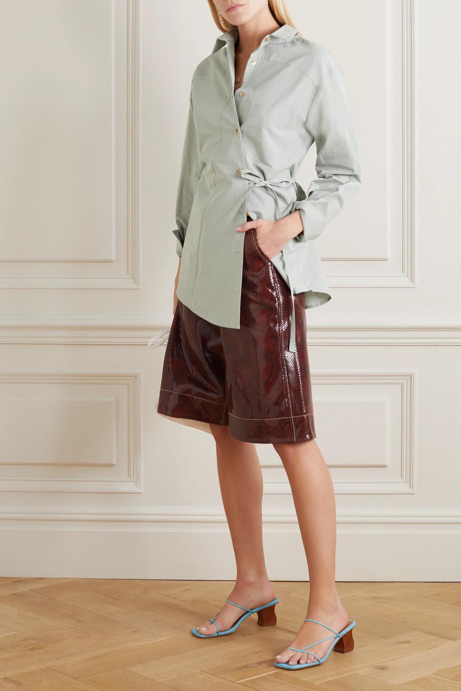 REJINA PYO Tatiana asymmetric tie-detailed cotton and linen-blend shirt
