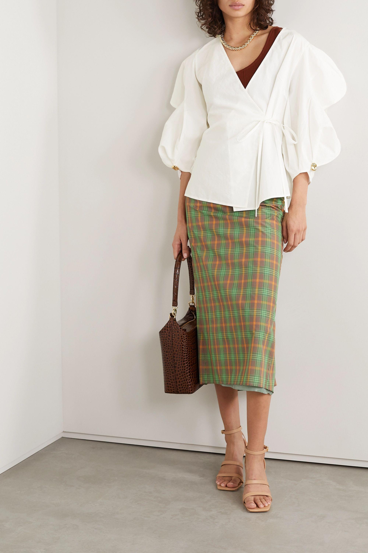 REJINA PYO Mia linen and cotton-blend wrap top