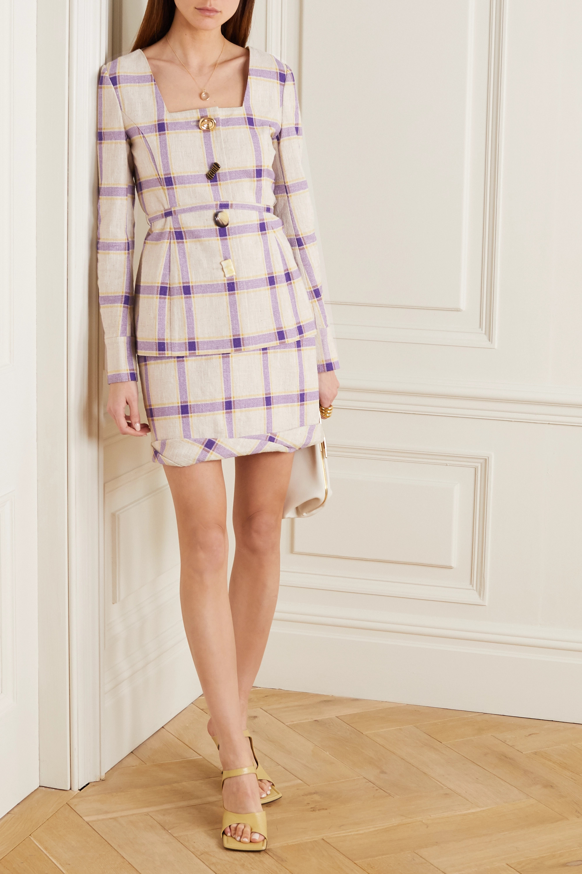 REJINA PYO Martina belted checked linen jacket