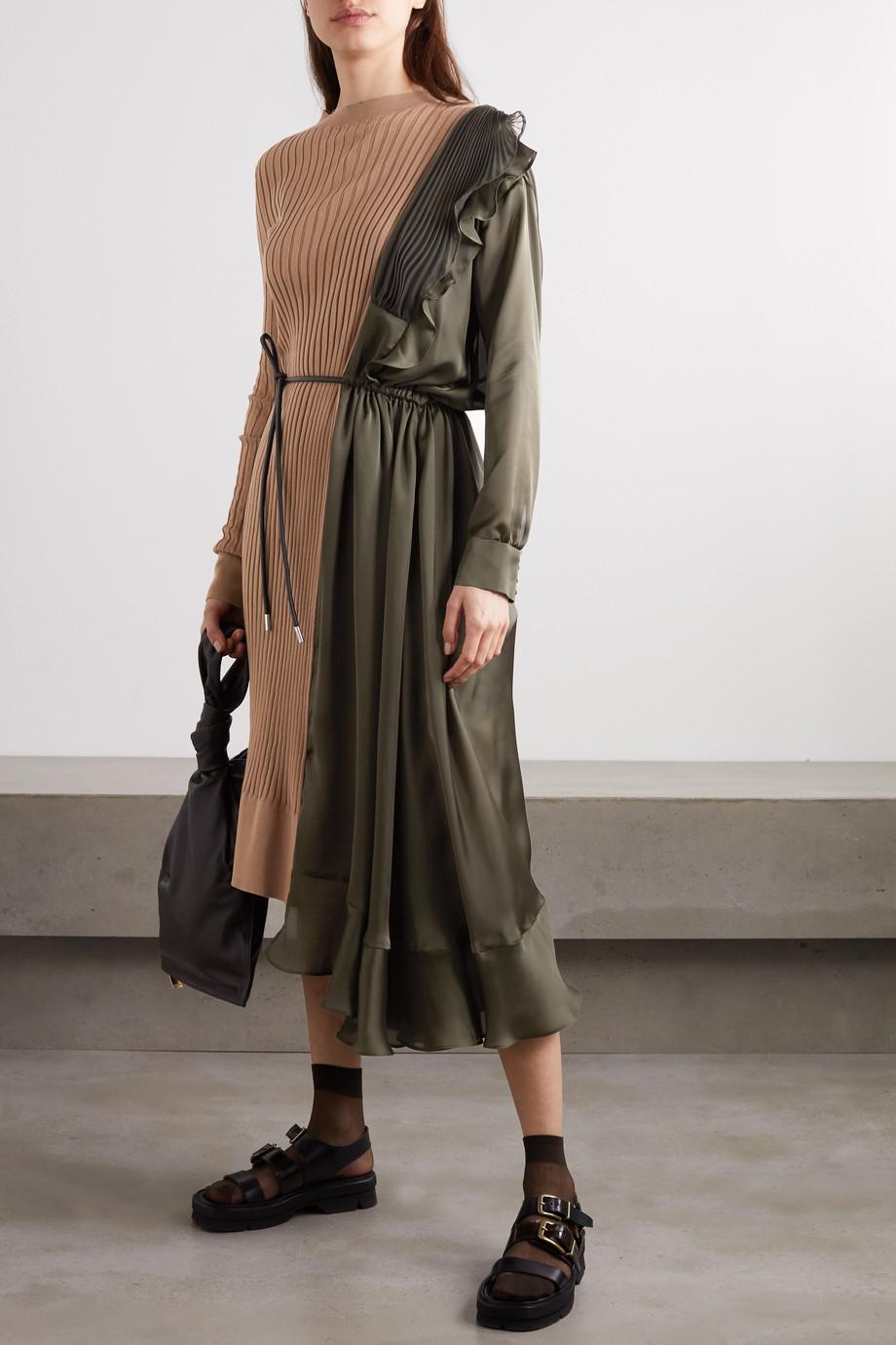 Sacai Paneled asymmetric cotton, satin and tulle midi dress