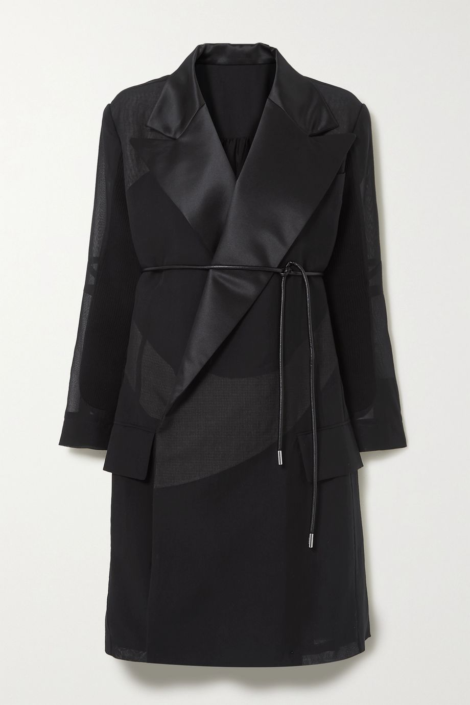 Sacai Belted satin-trimmed cotton-blend poplin and pleated chiffon coat