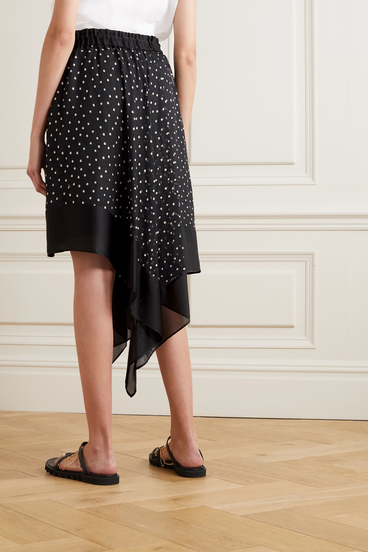 Sacai Asymmetric polka-dot chiffon skirt
