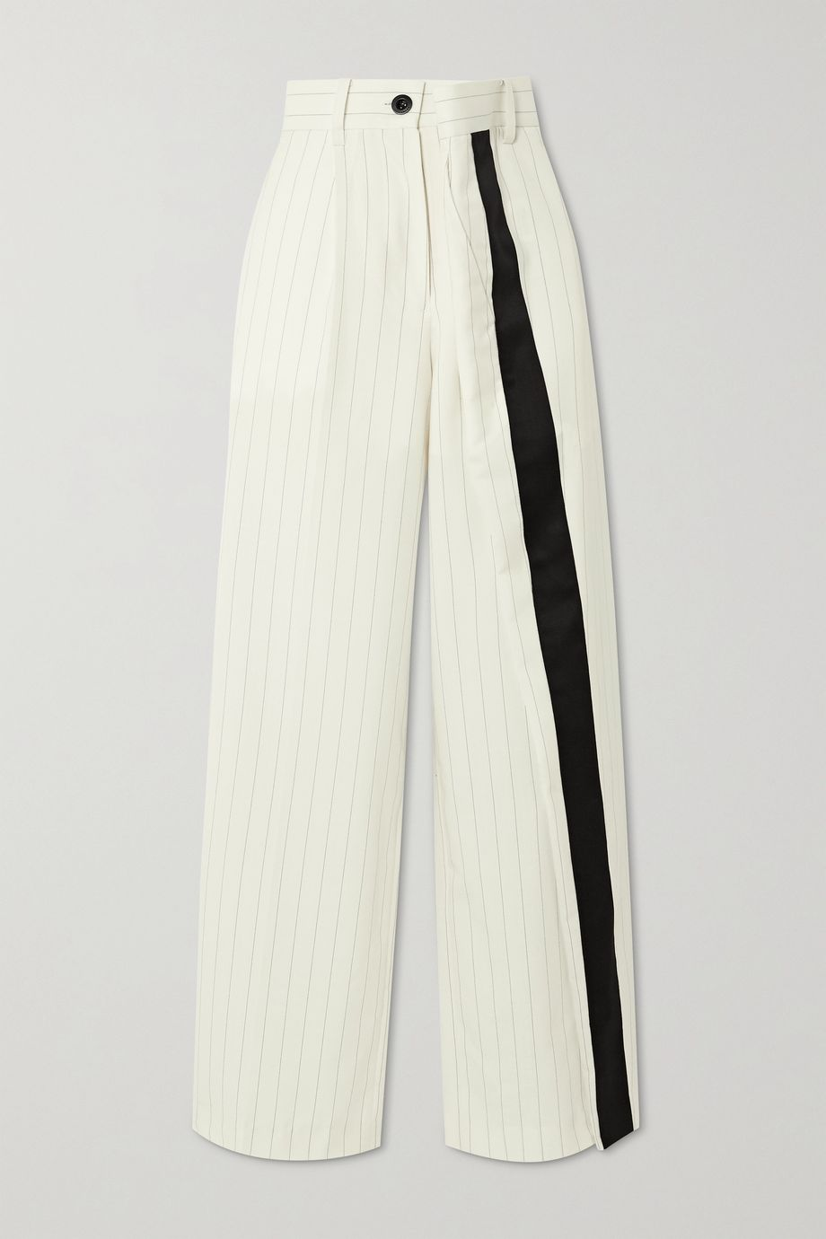 Sacai Wrap-effect pinstriped wool-blend wide-leg pants