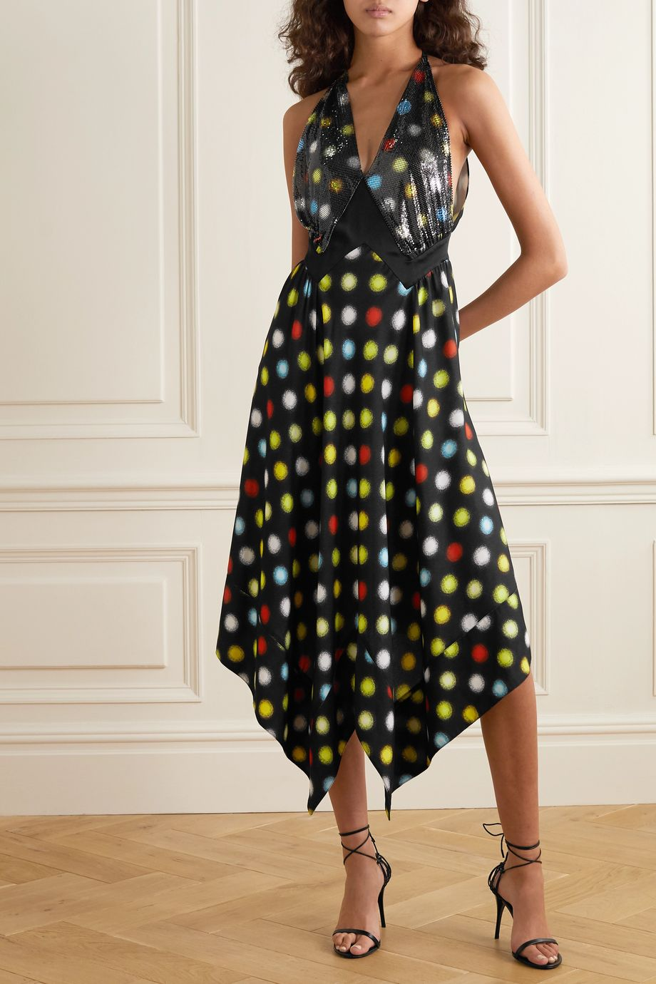 Paco Rabanne Asymmetric polka-dot chainmail and crepe midi dress