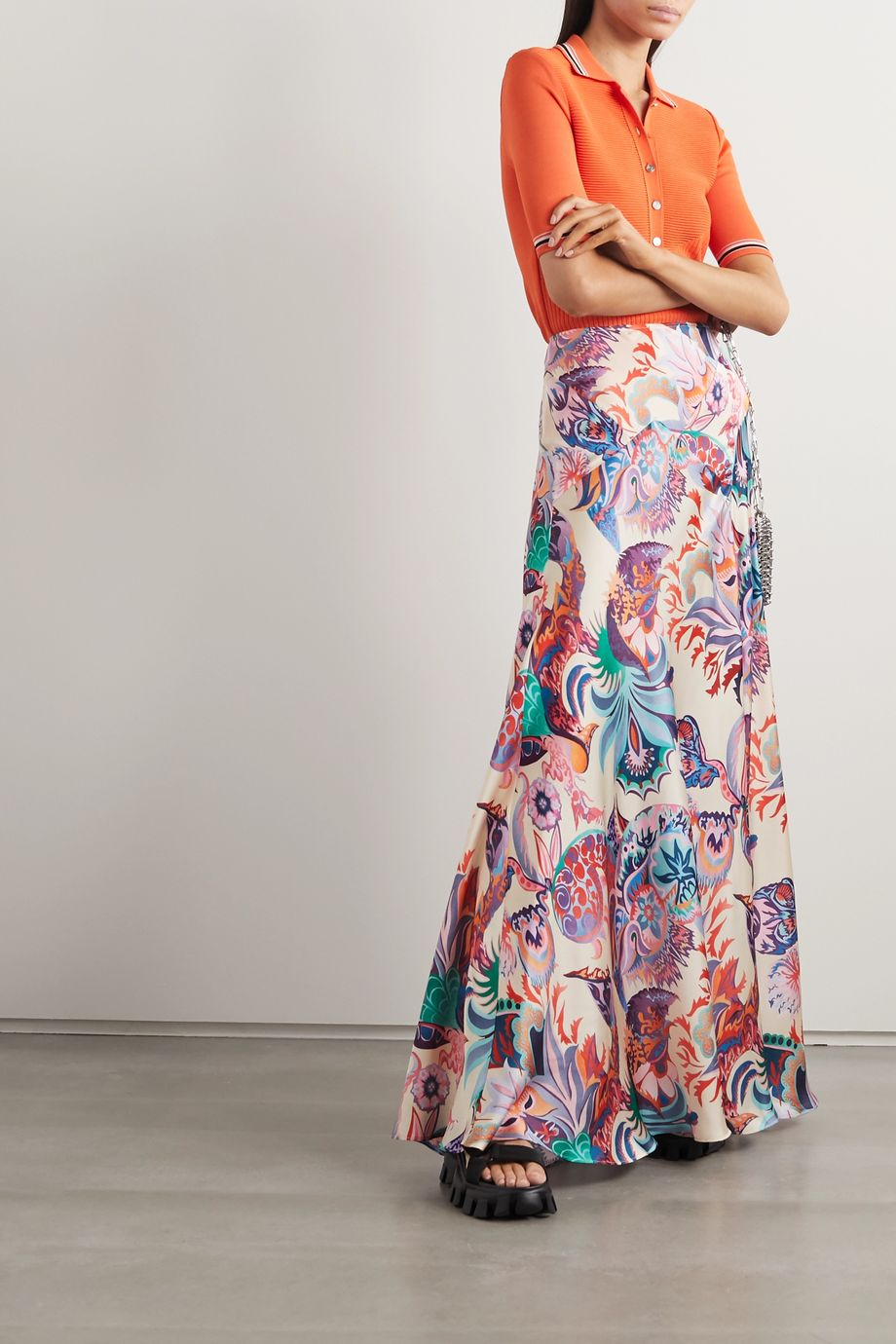 Paco Rabanne Printed satin maxi skirt