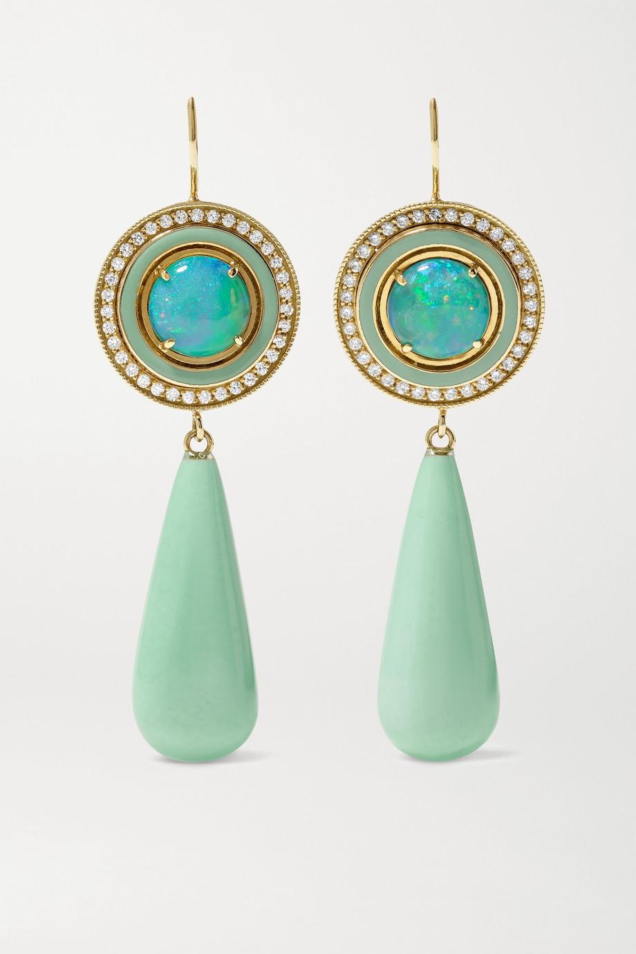 Andrea Fohrman 18-karat gold and enamel multi-stone earrings