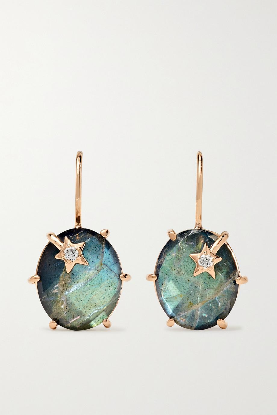 Andrea Fohrman Boucles d'oreilles en or rose 18 carats, labradorites et diamants Mini Galaxy