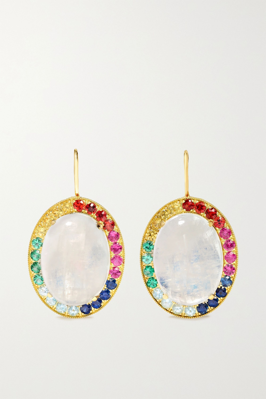 Andrea Fohrman Kat 18-karat gold, moonstone and sapphire earrings