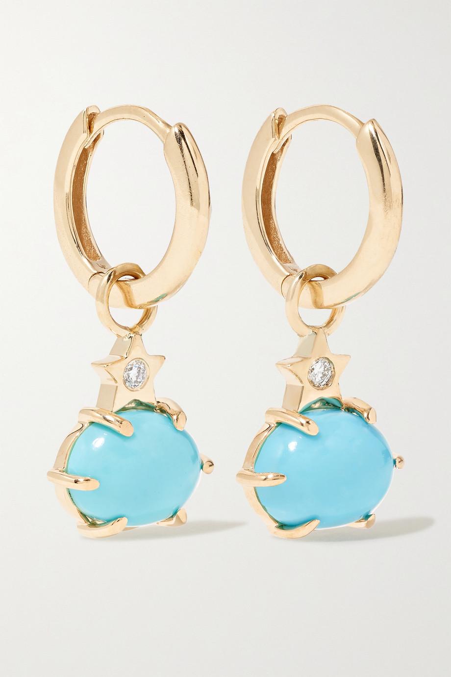 Andrea Fohrman Boucles d'oreilles en or 14 carats, turquoises et diamants Mini Cosmo