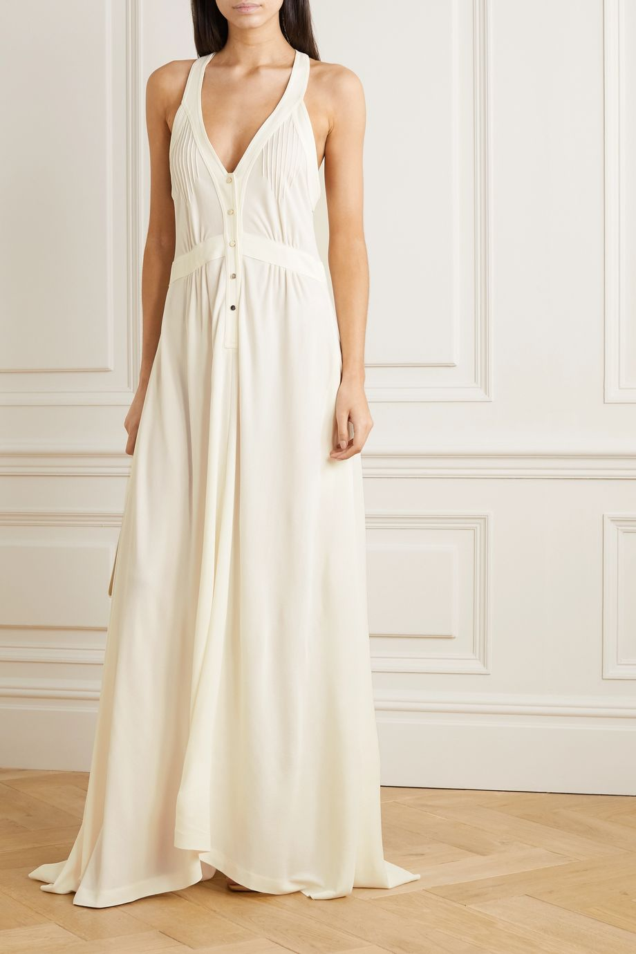 Petar Petrov Amal pintucked crepe de chine maxi dress