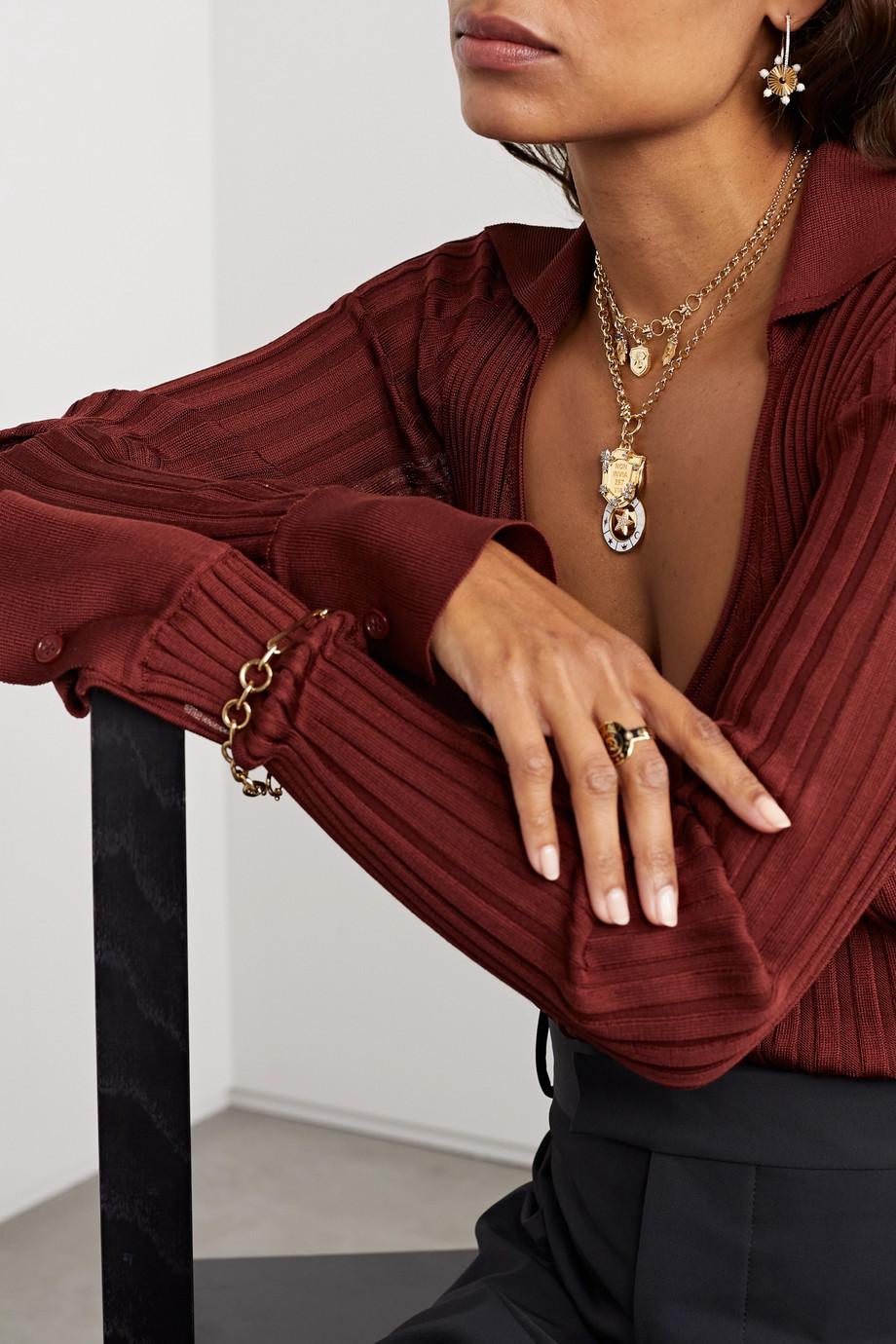 Foundrae Non Invia Est Via 18-karat gold, diamond and enamel necklace