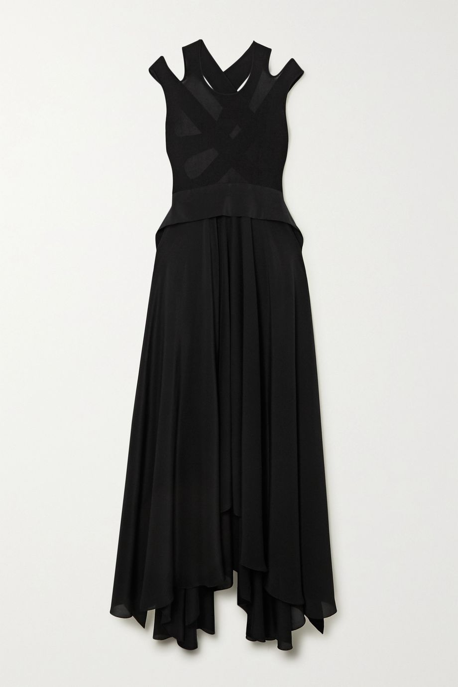 Petar Petrov Alba open-back ribbed-knit and silk maxi dress