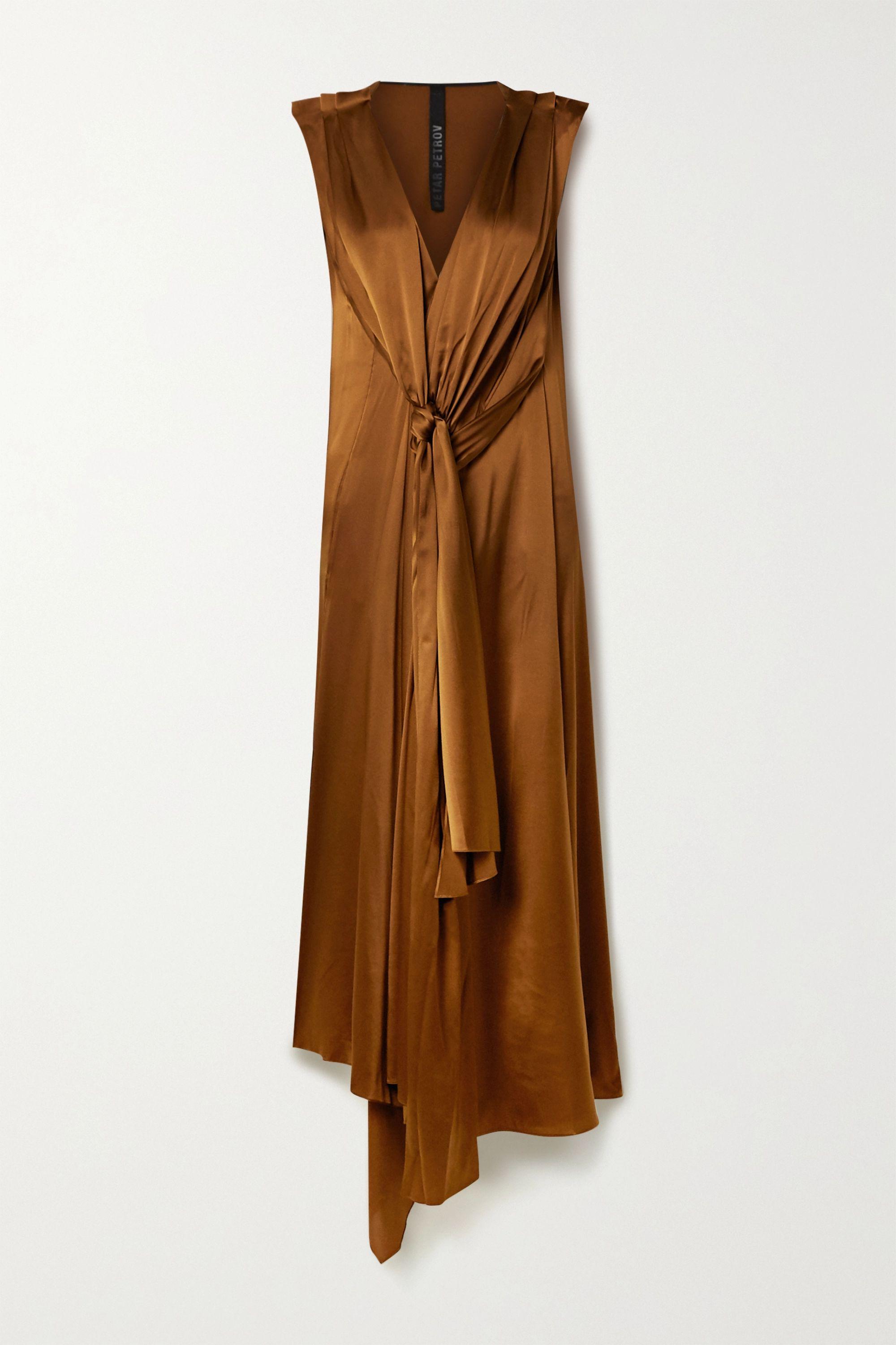 Petar Petrov Aria draped silk-blend satin dress