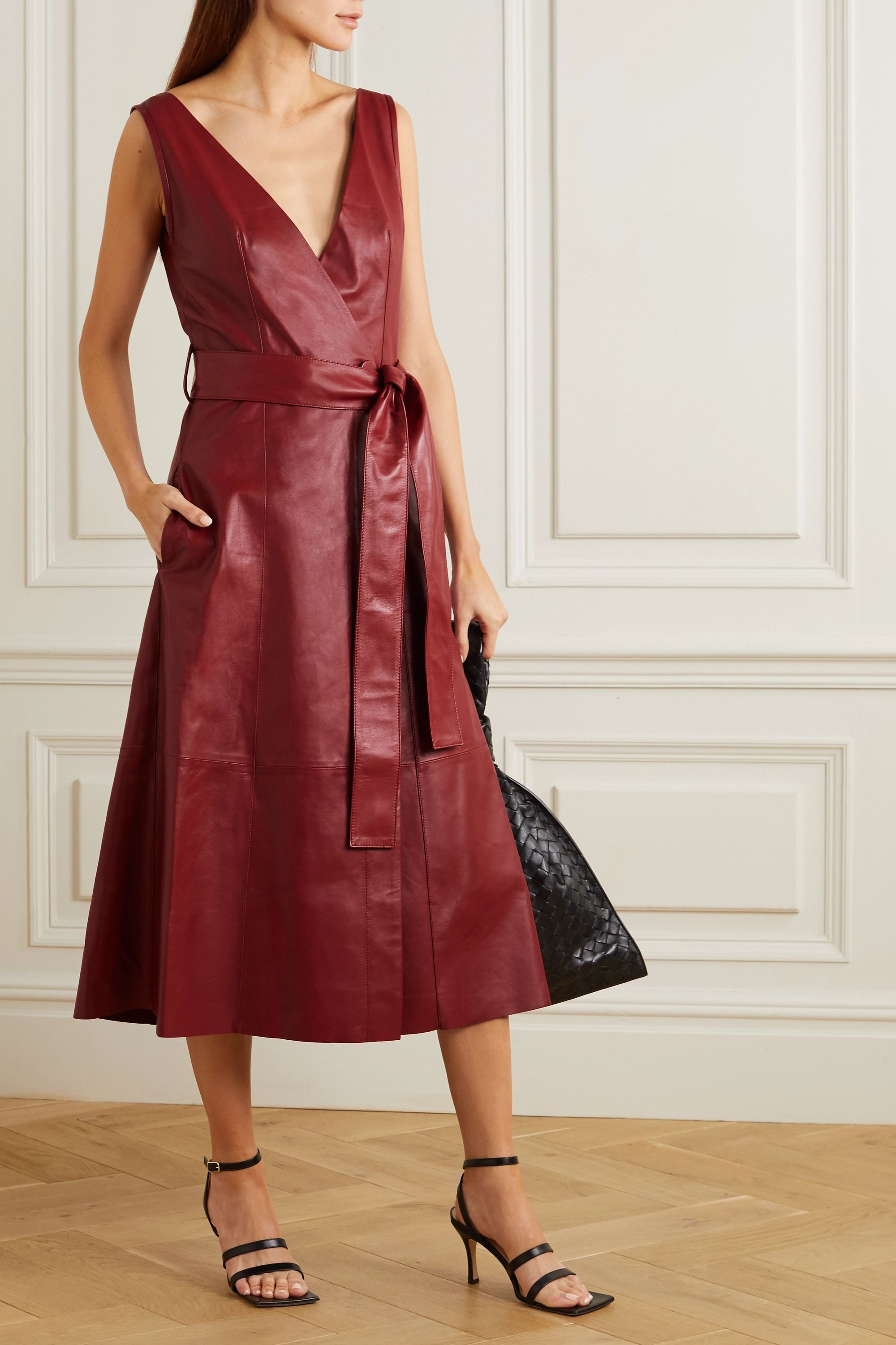 Petar Petrov Awel belted leather wrap midi dress