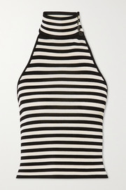 Kosta striped ribbed-knit halterneck top