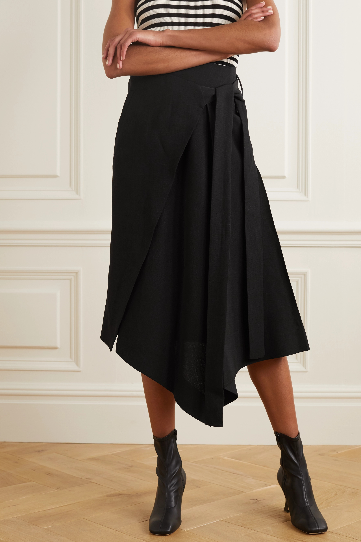 Petar Petrov Roxane asymmetric pleated woven wrap skirt